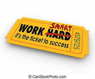 arbeit, klug, not, hart, fahrschein, zu, erfolg, bemühung,...