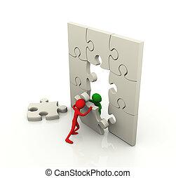 arbeit, puzzel, begriff, mannschaft