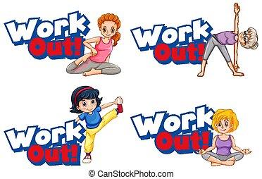 arbeit, schablone, heraus, frauen, aufkleber, joga, wort, ...