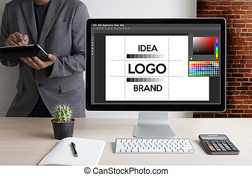 arbeit, skizze, kreativität, logo, marke, entwerfer, kreativ, geschaeftswelt, design, begriff, grafik