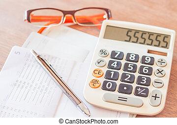 arbeit,  Station, Stift, Brille, Taschenrechner