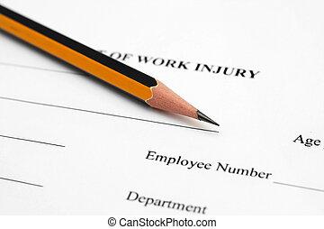 arbeit, verletzung, form