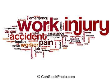 arbeit, verletzung, wort, wolke