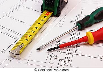 Arbeit, Werkzeuge, Auf, Elektrisch, Bauzeichnung, Von, Haus