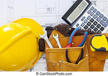 arbeit, werkzeuge, mit, helm, und, taschenrechner, auf,...