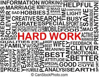 arbeit, wort, farbe, hart, sammlung, hervorgehoben, rotes