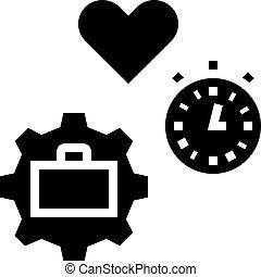 arbeit, zeit, frei, ikone, vektor, abbildung, glyph