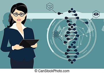 arbeiten, tablet., frau, cas9-genetic, engineering., crispr