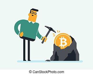 arbeitende , bitcoin, bergwerk, pickaxe, kaukasier, mann