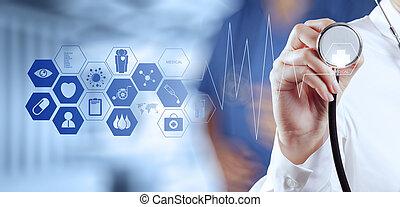 arbeitende , doktor, modern, hand, medizinprodukt, edv, schnittstelle