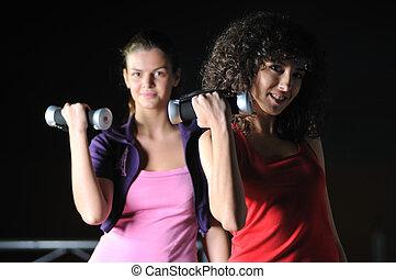 arbeitende , klub, mädels, zwei, fitness, heraus