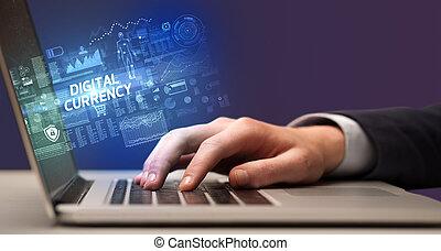 arbeitende , laptop, geschäftsmann