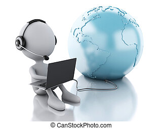 arbeitende , laptop, kopfhörer, person, erde, weißes, gl, 3d