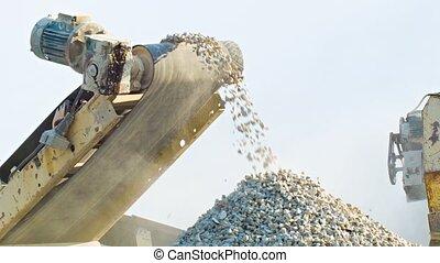 arbeitende , mechanismus, von, stein, crusher