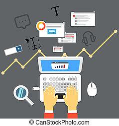 arbeitende , mit, groß, data., wohnung, abbildung