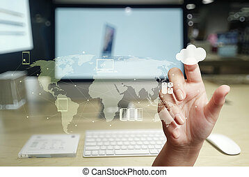 arbeitende , rechnen, hand, diagramm, edv, neu , wolke