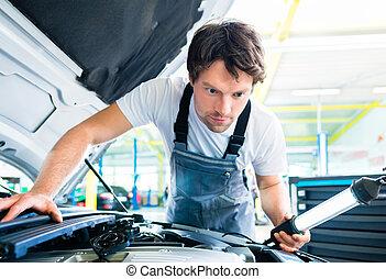 arbeitende , service, auto, werkstatt, mechaniker, auto
