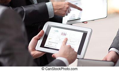arbeitende , tablette, leute, computer., hände, technologie
