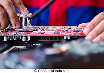 arbeitende , technisch, reparieren, unterstuetzung, tr, computermechaniker, laptop