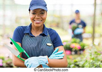 arbeiter, amerikanische , baumschule, weiblicher afrikaner, porträt