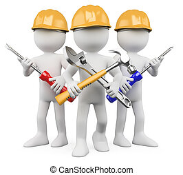 arbeiter, arbeit, -, 3d, mannschaft