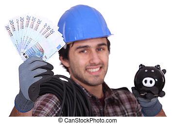 arbeiter, baugewerbe, schweinchen, hände, rechnungen, bank