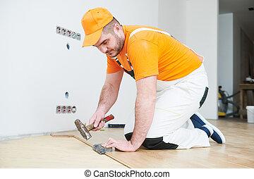 arbeiter, beitritt, parkett, floor.