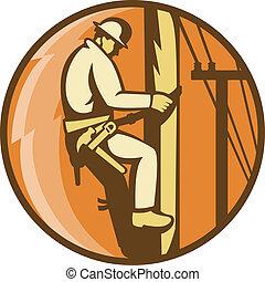 arbeiter, elektriker, streckenarbeiter, macht, hochklettern