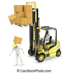 arbeiter, euch, schlag, per, pappe, fallender , von, aufzug, lastwagen, gabel