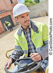 arbeiter, gebrauchend, baugewerbe, gräber