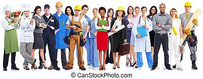 arbeiter, group., geschäftsmenschen
