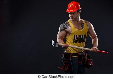 arbeiter, hammer, brutal, muskulös, mann