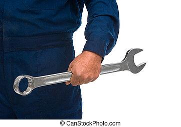 arbeiter, hand, mit, maulschlüssel