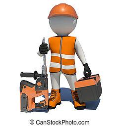 arbeiter, in, overalls, besitz, elektrisch, perforator, und,...