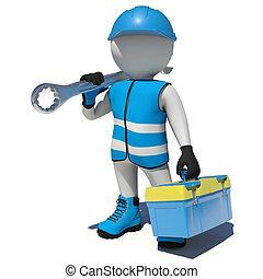 arbeiter, in, overalls, besitz, werkzeugkiste, und,...