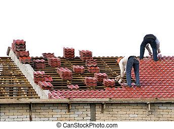 arbeiter, liegende , fliesenmuster, dach