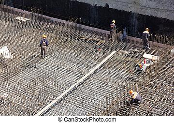 arbeiter, machen, verstärkung, für, beton, grundlage