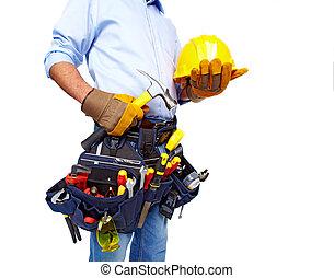 arbeiter, mit, a, werkzeug, belt., construction.