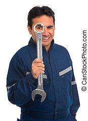 arbeiter, mit, maulschlüssel