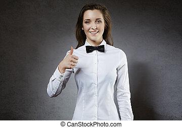 arbeiter, personal, lächeln, ok, ausstellung