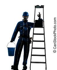 arbeiter, reparatur, silhouette, mann