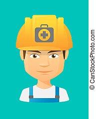 arbeiter, satz, avatar, hilfe, zuerst, ikone