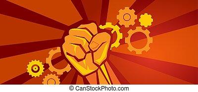 arbeiter, streik, demonstration, zahnräder, zähne, und, hand, faust, symbol, von, arbeit, in, rotes , revolution, propaganda, stil, socialism, kommunismus