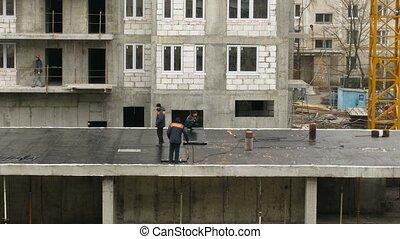 arbeiter, welds, hülle, auf, dach, zeit- versehen