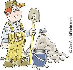 arbeiter, wischeimer, spaten