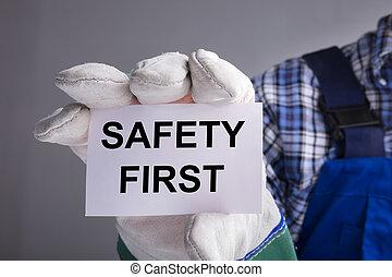 arbeiter, zuerst, sicherheit, ausstellung, zeichen