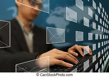 arbeits büro, geschaeftswelt, e-mail, tippen, mann