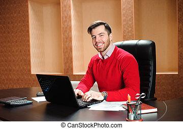 arbeits büro, schauen, edv, fotoapperat, geschäftsmann, lächeln, beiläufig