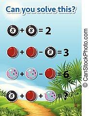 arbeitsblatt, problem, lösen, mathe