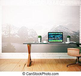 arbeitsplatz, mit, forex, tabelle, auf, laptop